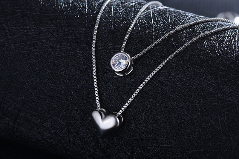 Trendy Women Silver 925 Necklace Jewelry Fashion Double Layer Crystal Heart Necklace For Girl Choker Accessories Female Necklace in Pendant Necklaces from Jewelry Accessories
