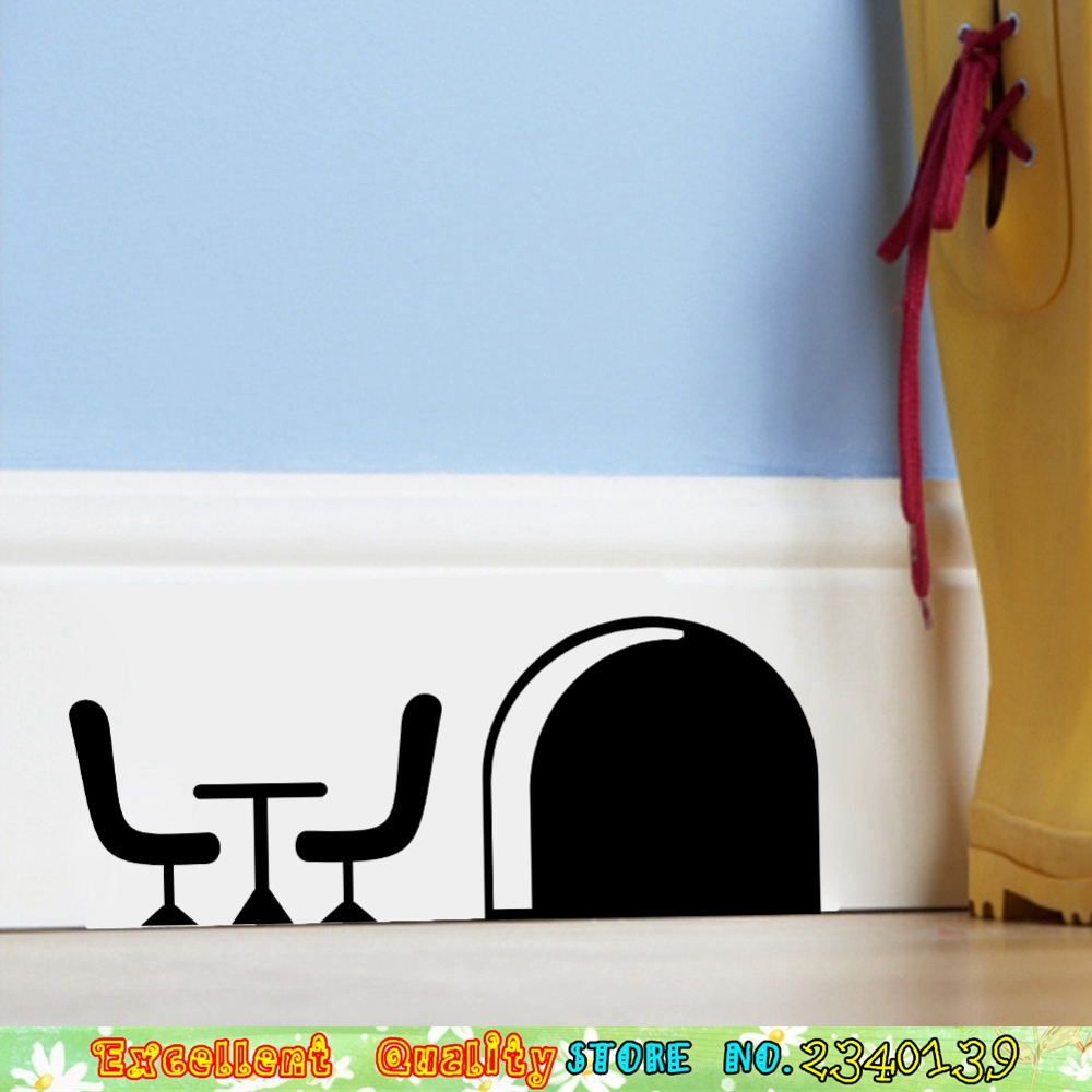 3D Mouse Rats Hole FAMILY DESK Wall Stickers Home Baseboard Decoration Wall  Art Decals DIY Kids Room Bedroom Vinyl Wall Stickers
