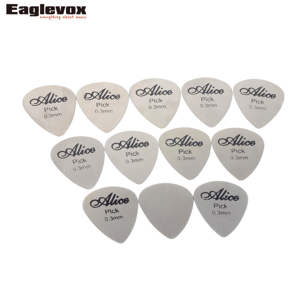 12pcs Stainless Steel Guitar Picks Heart and Triangle Shape Thickness 0.30mm Alice 12S
