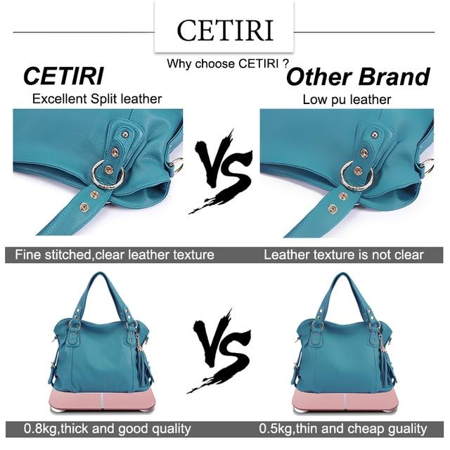 CETIRI Brand 2017 Women European and American Style Luxury Shoulder Bags Hobos Designer Tassel Handbag Leather Ladies Hand Bag