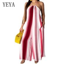 YEYA Sexy Sleeveless Stripe Jumpsuits Women Long Casual Romper New Halter Loose Wide Leg Playsuits Summer Boho Beach Overalls
