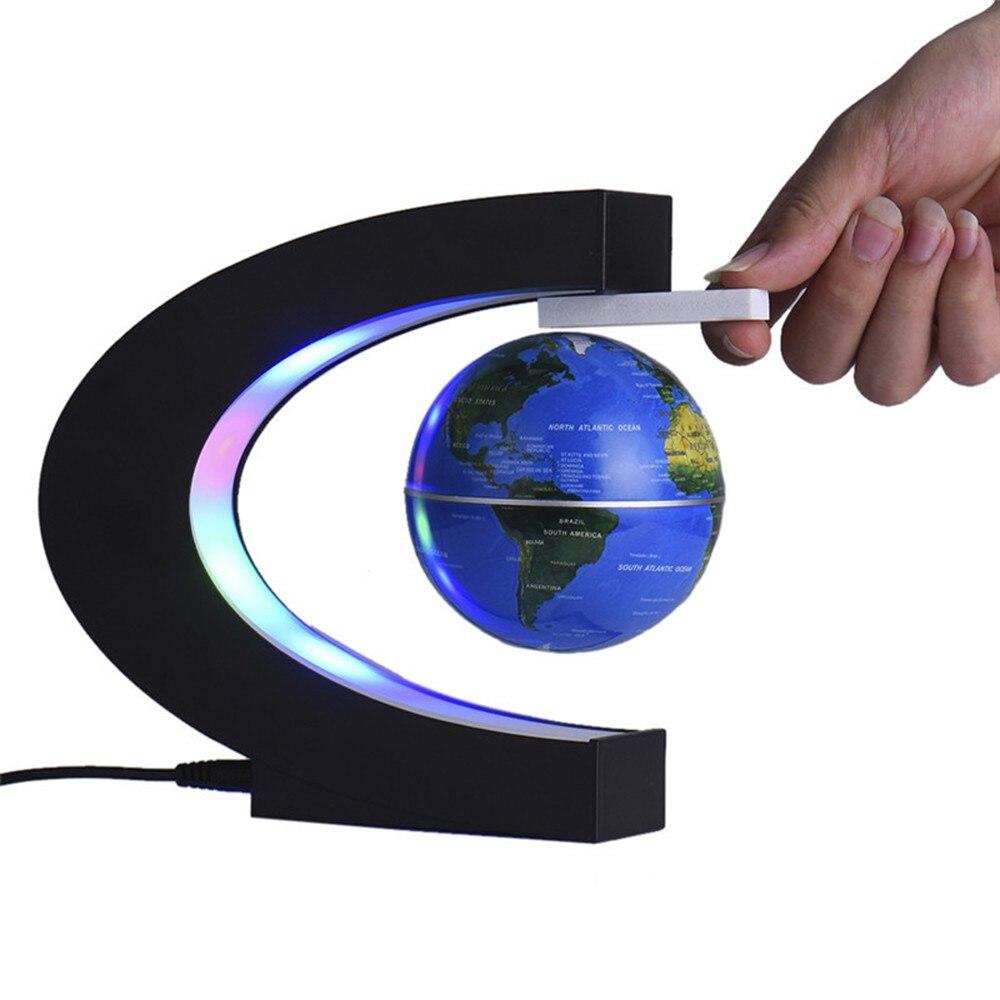 купить Floating Globe Antigravity LED Night Light C Shape Black Blue LED World Map Home Decor Electronic Magnetic Levitation Best Gift