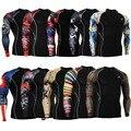 Moda de Mangas Compridas T-shirt dos homens 3D Impressões De Compressão Da Pele Camisas Apertadas para Homens MMA Rashguard Masculino Musculação Top aptidão