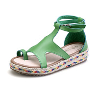 Plus Size Thick Soled 2017 Summer Shoes Woman Buckle Strap Ladies Platform Flip Flops Flat Women