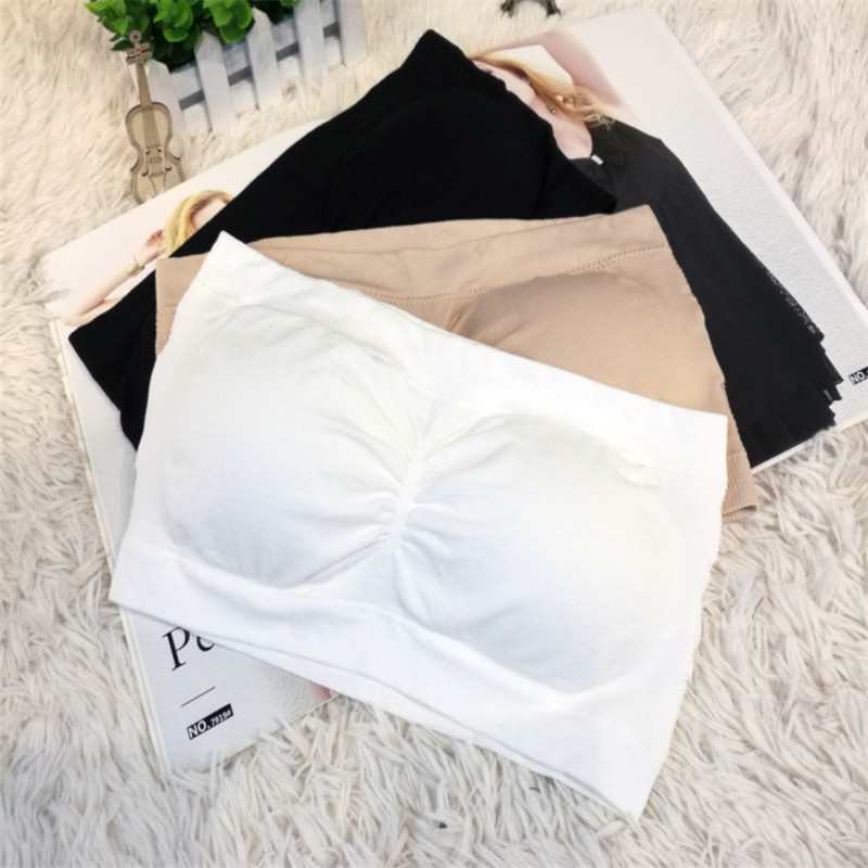 Ladies Women FashionComfort Strapless Bandeau Crop Top Bra Boob Tubes S-XXL Black White Nude W3