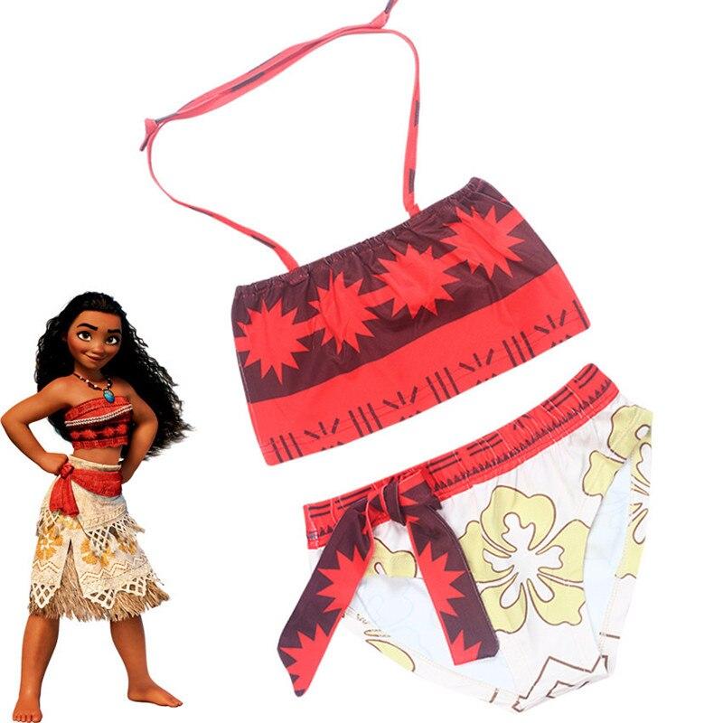 Ainiel New Moana Cosplay Costume Cartoon  girl Bikini Swimsuit Shirt Moana maui Swimwear Summer Beach Dress For Kid Girl