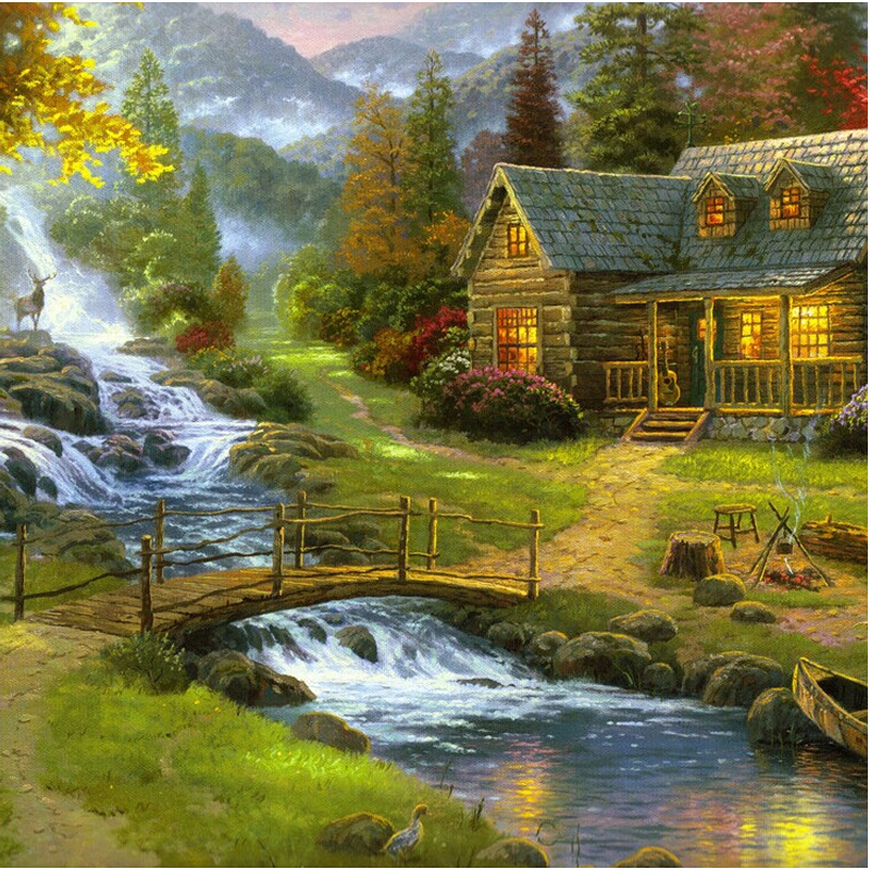 Diy pastoral landscape bridge and river paintings diamonds cross-stitch embroidery european-style decorative murals #BR33