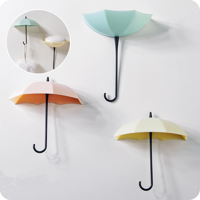 1set Self adhesive mbrella shape wall mounted hook coat organizations Storage rack for key hanger towel Soap jewelry Holder