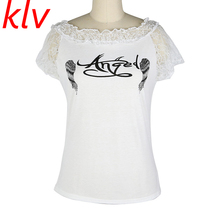 KLV 2017 Women Letter Cotton T shirt Back Hollow Angel Wings T-shirt Tops Summer Ladies Lace Short Sleeve O Neck