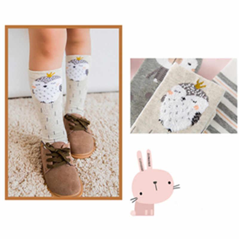 3 Pairs Cartoon Kniekousen Baby Meisjes Katoenen Gestreepte Leuke Lange Sokken Kind Kids Baby Herfst Winter Sok Voor 1-12Y