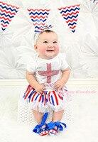 Rhinestone England Heart White Bodysuit Red White Blue Stripe Baby Dress NB-12M JS3282
