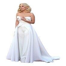 Оскар ковра пант красного знаменитости белого атласная милая вечерние длинные платья