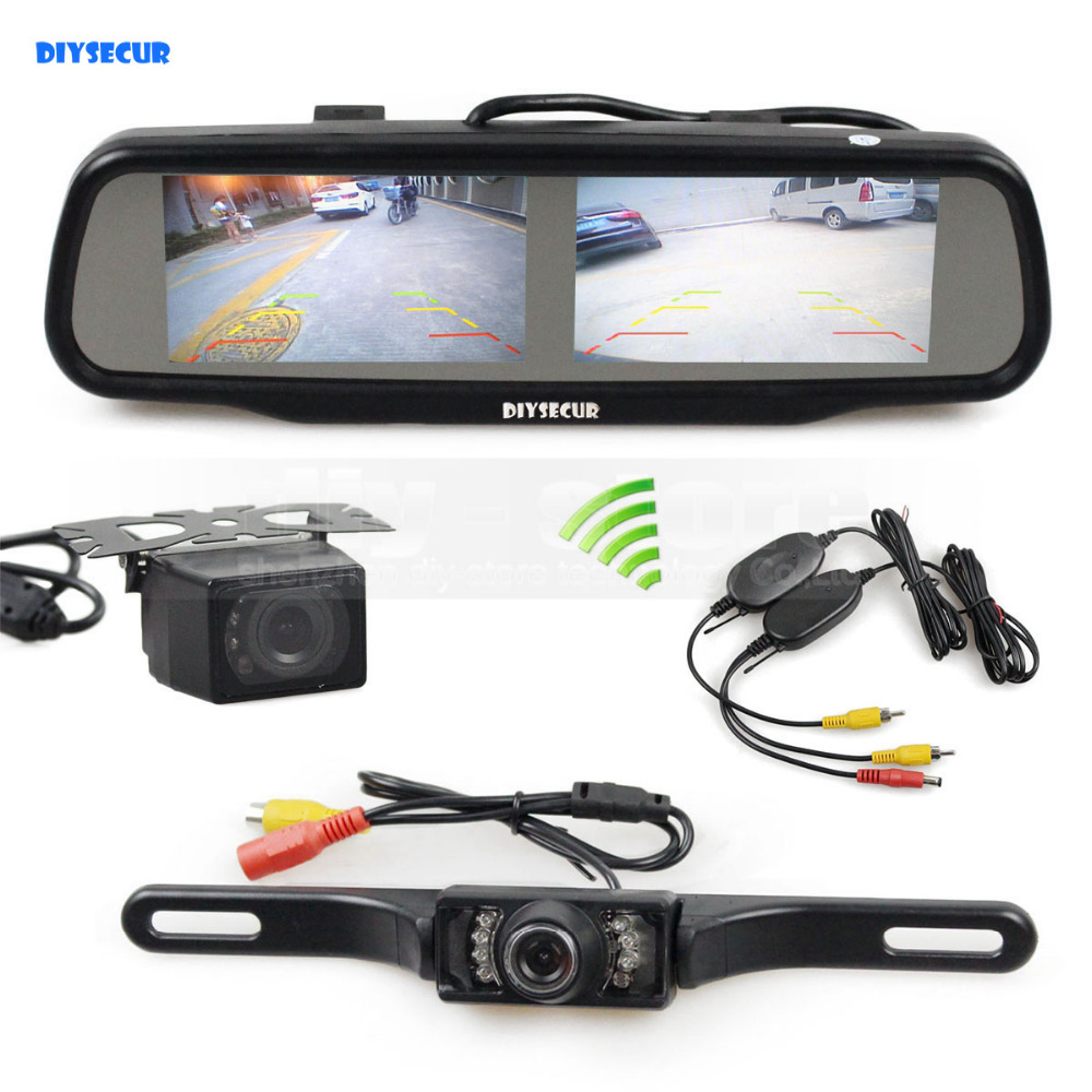 DIYSECUR Wireless Dual 4.3 inch Screen Rearview Car Mirror Monitor + Waterproof Car Rear View Reverse Backup Car Camera 3in1 diy for hyundai i25 i35 i45 wireless wifi bluetooth backup rear view reverse rearview camera camara & screen monitor