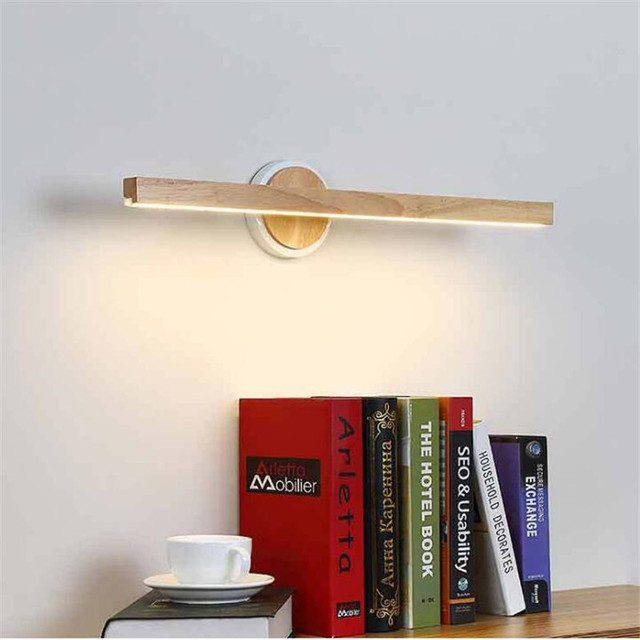 Modern Nordic Wood Led Wall Lamp for Bathroom Cabinet Mirror Flexible Wooden Porch light 60cm 2402