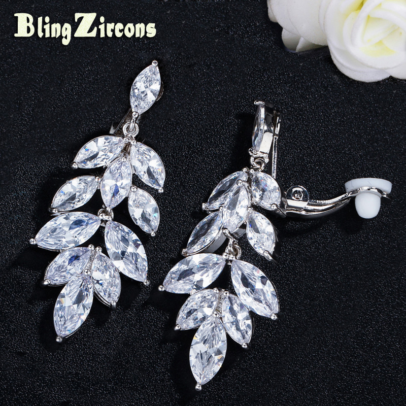 BlingZircons Elegant Non Pierced Clips Earrings High Quality Marquise Cubic Zirconia Stone No Hole Clip On Wedding Jewelry E204