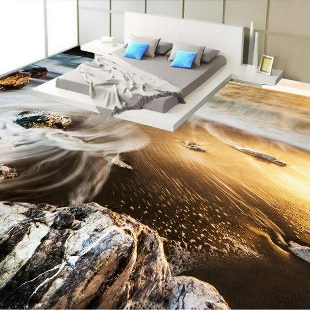 Freies Verschiffen Benutzerdefinierte Meer Strand Landschaft 3D Stereo Nackt  Boden Tapete Wohnzimmer Mall Korridor Selbstklebende Boden