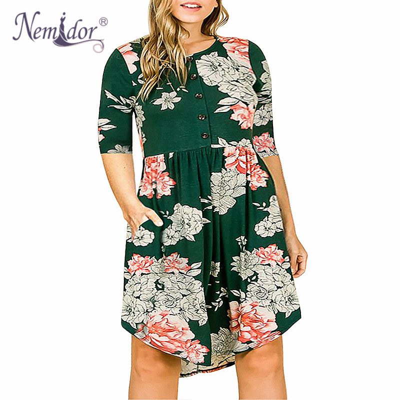 Nemidor Women Vintage Front Button 3 4 Sleeve Plus Size 8XL 9XL Print  Casual Dress b02ae8755c1c
