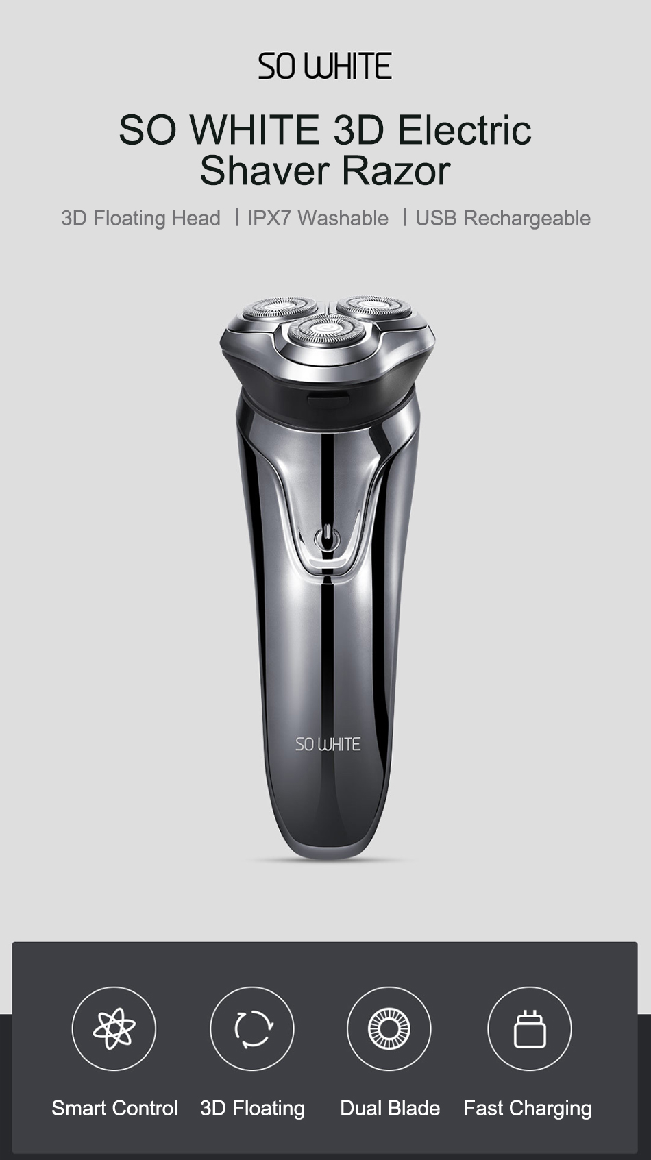 Xiaomi Soocas SO WHITE Electric Razor Shaver For Men With USB Rechargeable And 3D Smart Control 3