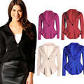Autumn Spring Women Blazer Coat Casual Slim Fit Work Wear One Button Ruffle Back Suit Tops Women OL Clothing H9