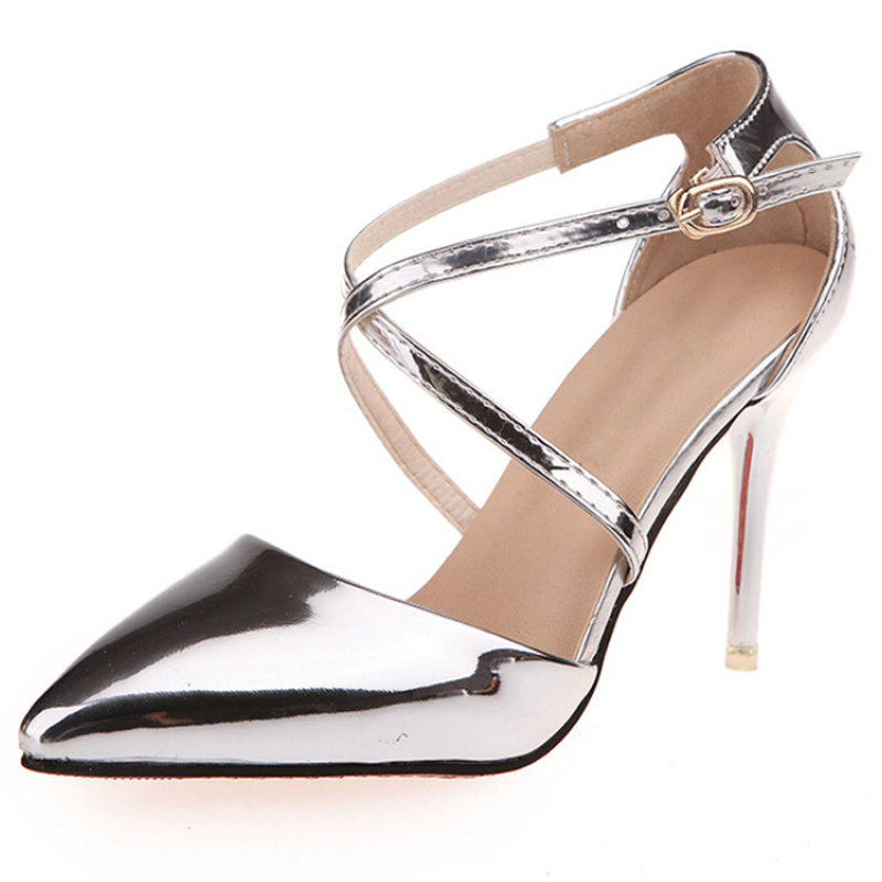 все цены на  Sexy Sandals Women'Shoes Gladiator PU Leather Cross Tied Thin Heel Pointed Toe Sandal Female High Heels Shoes Wedding Work H1035  в интернете