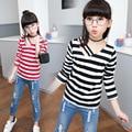 Девушки футболка Дети футболка Полоса Футболка 2017 новое прибытие Camiseta Infantil menino Deguisement enfant девушка футболки Дети Футболки