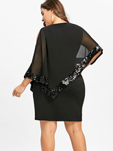 Party Sequined Capelet Dress for Women