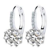 Giemi Brand New Design Fashion Charm Round Austrian Crystal Hoop Earrings  925 Sterling Silver Shiny Rhinestone 60bc3b5f153d