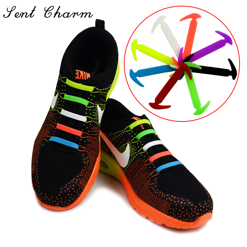 SENTCHARM Fashion No Tie Shoelaces Running Lazy Laces Elastic And Waterproof Silicone All Sneakers 8 Colors Optional AS Gift