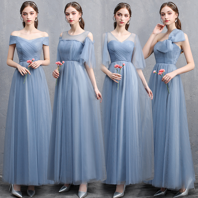 New Dusty Blue   Bridesmaid     Dresses   2019 Long Sexy Boat Neck Formal Prom Party Gown For Girlfriend Slim Banquet   Dress   Women