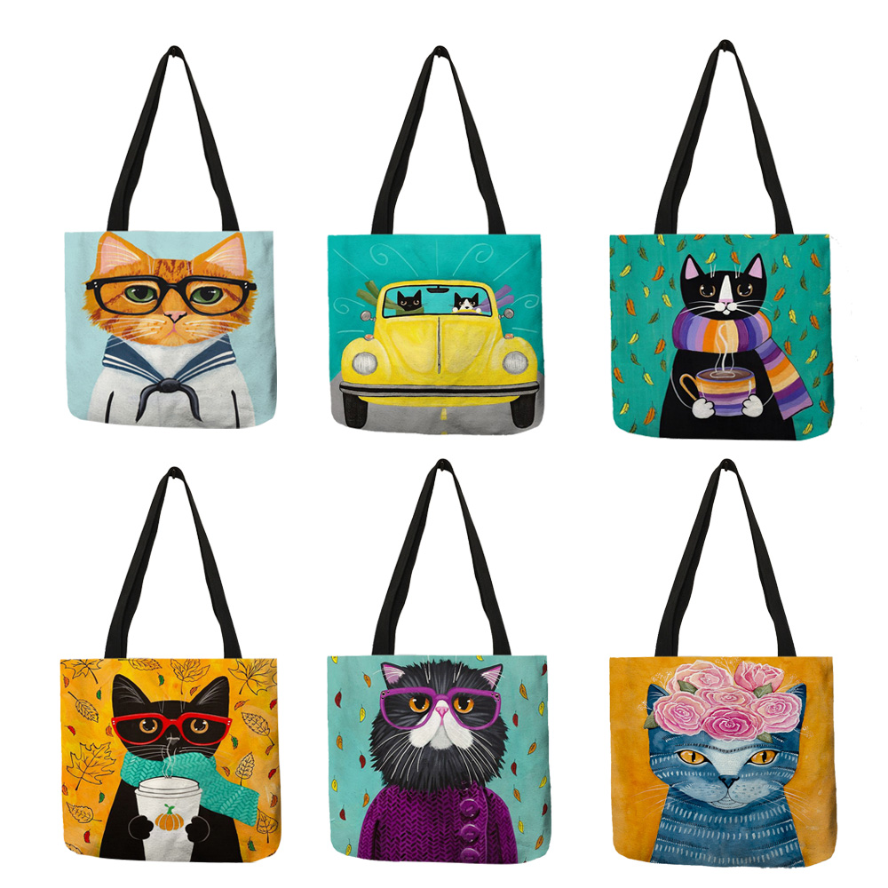 Personalized Cat Tote Bag For Women Lady Folding Reusable Linen Shopping Bag With Print Travel School