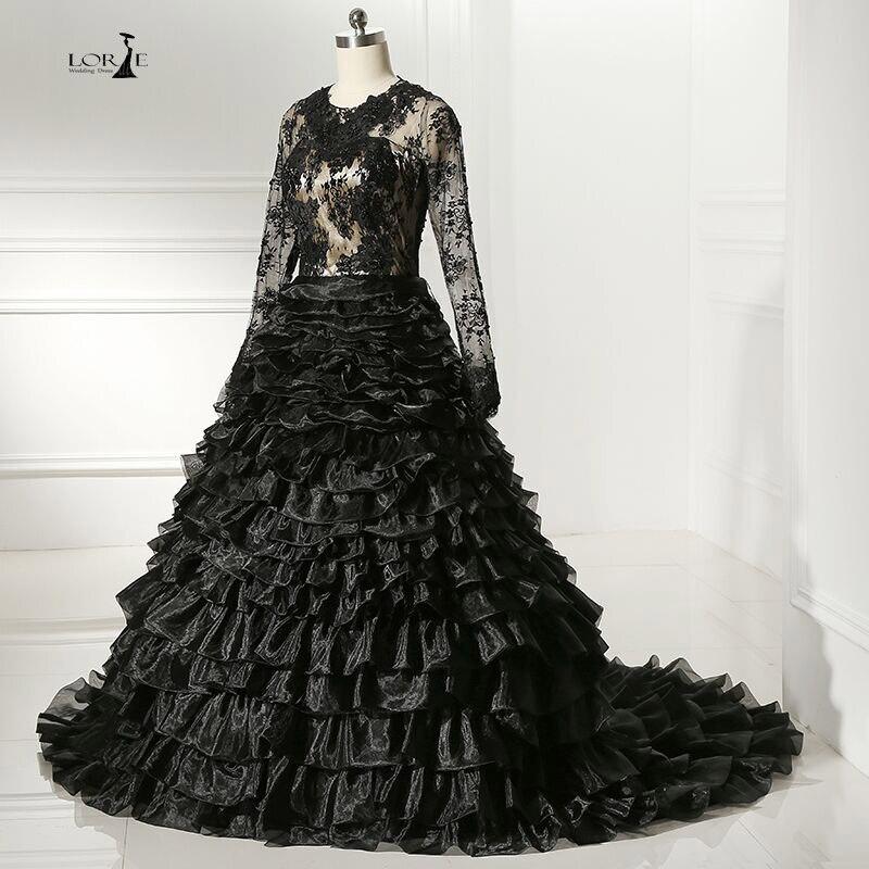 Vintage Black Wedding Dresses: LORIE Black Lace Wedding Gown Full Sleeves Ruffles Dresses