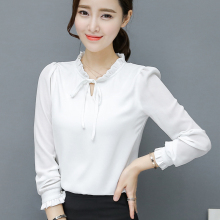 2017 Spring Women Chiffon Tops Plus Size Female Fashion Shirts Pink White Chiffon Shirt Stand Neck Puff Long Sleeve Loose Blouse