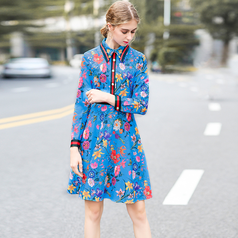 Milan Catwalk New High Quality Runway Designer 2018 Spring Fashion WomenS Party Office Girls Flower Print Long-Sleeved Dresses