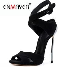 ENMAYER Casual  Buckle Strap  Basic  High Heel Sandals  Open Toe Heels  Sandalia Feminina  Shoes Women    Size 34-43 ZYL2496 цена