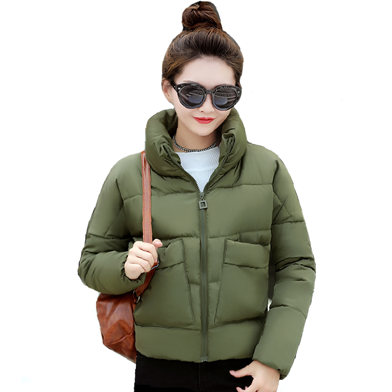 Stand Collar Warm Thicken Women Winter Jacket Cotton Padded Winter Female Coat   Parka   Short With Two Pockets jaqueta Inverno