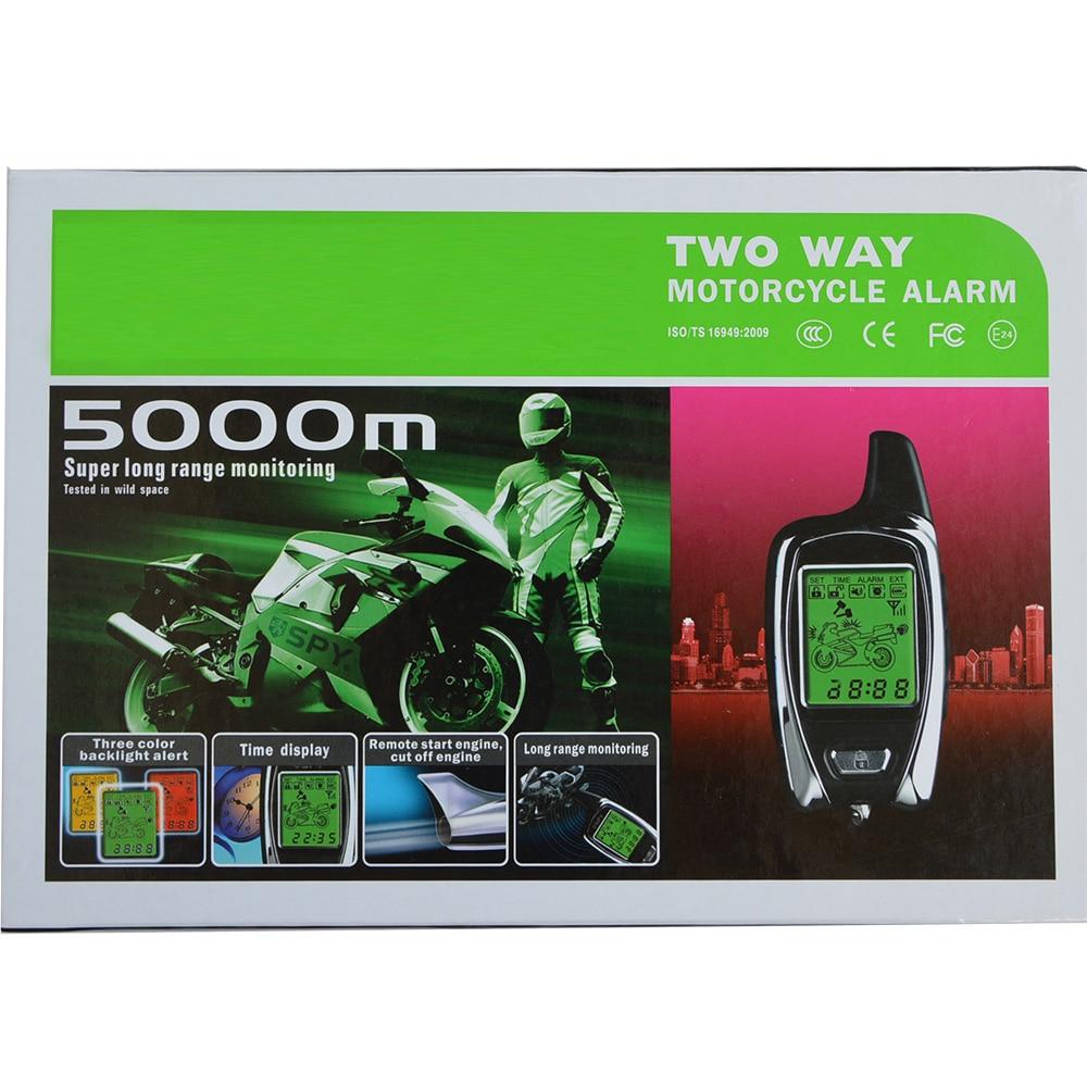 Высокое качество 5000 м двухстороннее Anti-theft Мотоцикл сигнализации с 2 ЖК-дисплей передатчики удаленного запуска двигателя Мотоцикл сигнализ...