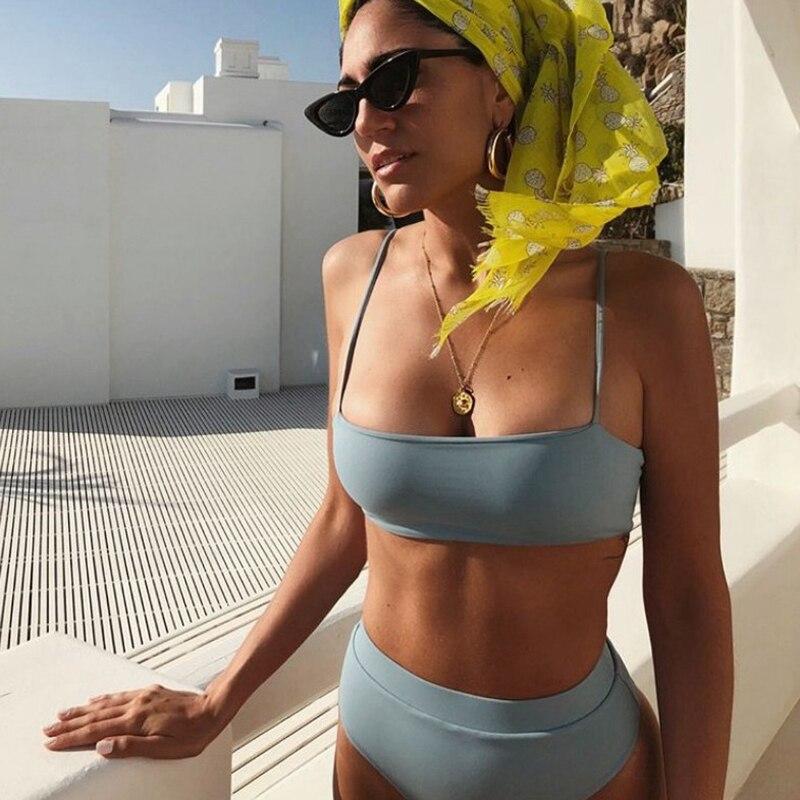 ZTVitality Sexy Bikinis Solid Push Up Bikini 2020 Hot Sale Padded Bra Straps High Waist Swimsuit Female Swimwear Women Biquini 5