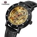 FORSINING мужские новые дизайнерские автоматические самокручивающиеся стильные Кристальные прозрачные часы с классическим ремешком FSG8159M3