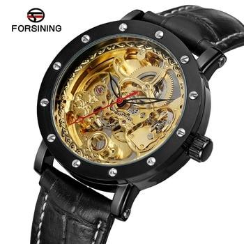 FORSINING hommes nouveau Design automatique auto-vent Style élégant squelette Transparent cristal meilleure montre avec bande classique FSG8159M3