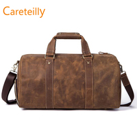 Genuine Leather Travel Weekend Overnight Duffel Bag Gym Tote Duffel Bags With Adjustable Straps
