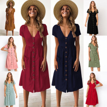 Beach Summer Boho Bohemian  v neck Short sleeve Dress 2019 Womens Button pure color Holidays party dress Clothes