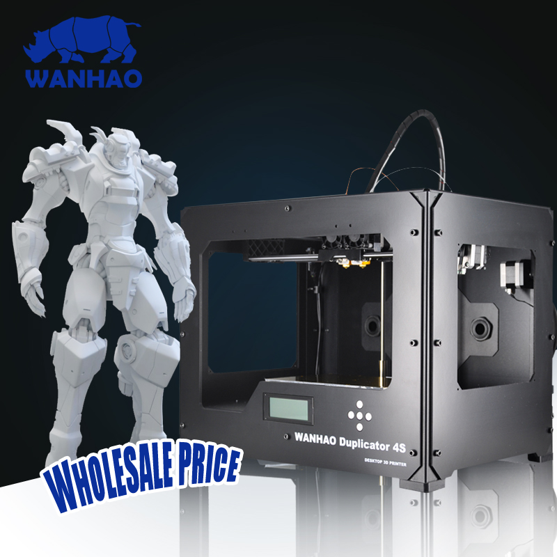 High quality WANHAO Duplicator 4 D4s doub color Double extruder desktop reprap 3d printing machine Dual extruder3D Printer wanhao granding metal duplicator 4s wanhao d4s 3d printer double extruder with free filaments memory card usb cable