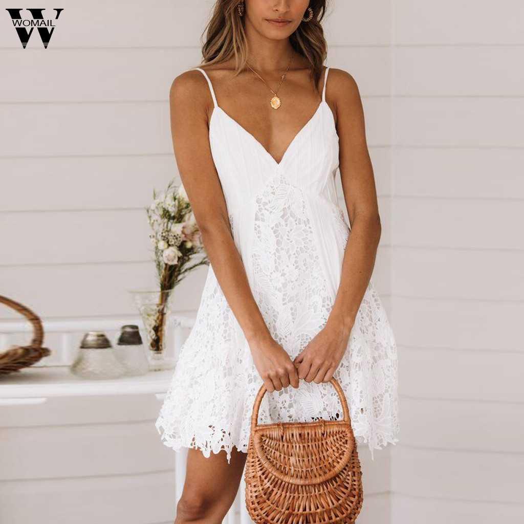 Womail robe femme nouveau été Sexy sans manches solide col en v a-ligne Mini robe de vacances fête élégante mode plage robe 2019 A16