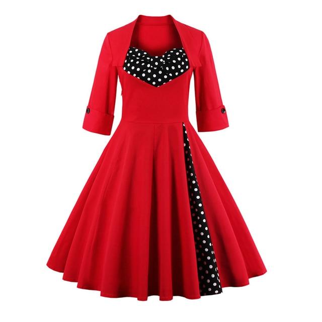 943b50b0b2c 2017 50s Vintage Christmas Dress for Women Elegant Autumn Patchwork Dress  Casual Evening Party Swing Plus Size Dress Vestidos