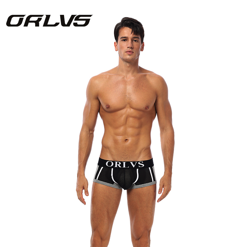 ORLVS Mens Mesh Underwear <font><b>Boxer</b></font> <font><b>Sexy</b></font> Male <font><b>Short</b></font> Pants <font><b>Cotton</b></font> Panties Gay Underpants Sous Vetement <font><b>Homme</b></font> Hot Boxershorts Men image