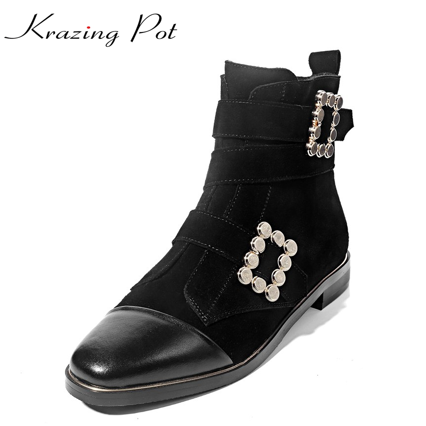 Krazing Pot hot genuine leather plus size thick low heels round toe metal decoration women ankle boots handsome  boots L08 allen roth brinkley handsome oil rubbed bronze metal toothbrush holder