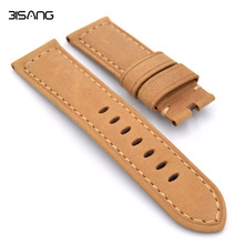 Matte Yellow/Green/Brown/Blue  Leather Watchband 22mm/24mm/26mm retro strap Handmade Men's Watch Straps For Panerai
