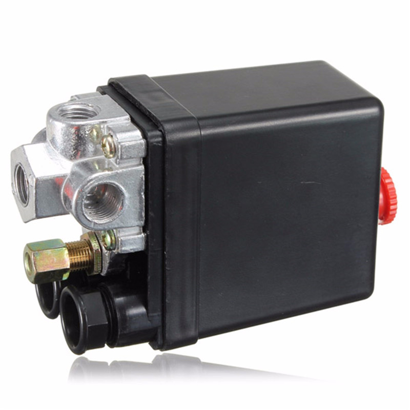 Heavy Duty Air Compressor Pressure Control Switch Valve 90-120PSI 12 Bar 20A AC220V 4 Port 12.5 x 8 x 5cm vertical type replacement part 1 port spdt air compressor pump pressure on off knob switch control valve 80 115 psi ac220 240v