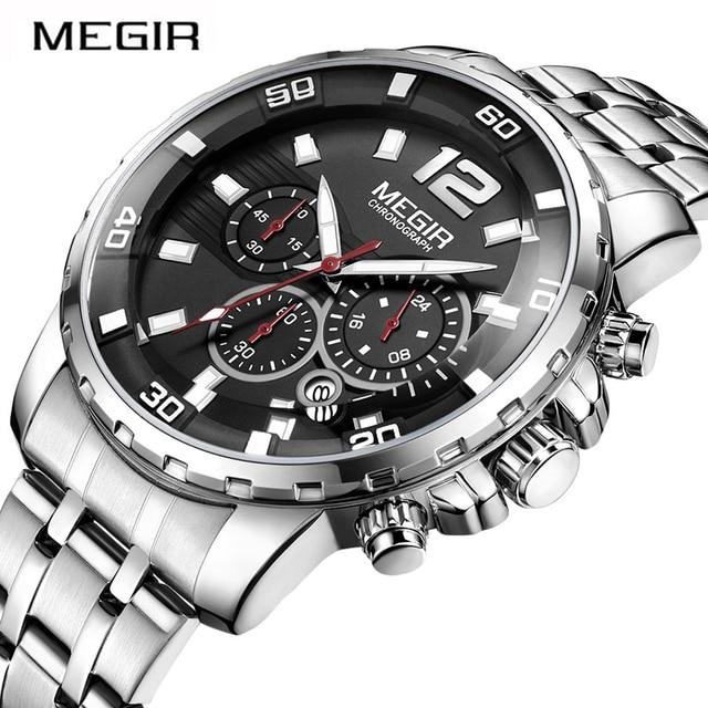 410a479189a MEGIR Chronograph Quartz Men Watch Top Brand Luxury Army Military Wrist Watches  Clock Men Relogio Masculino Business Wristwatch