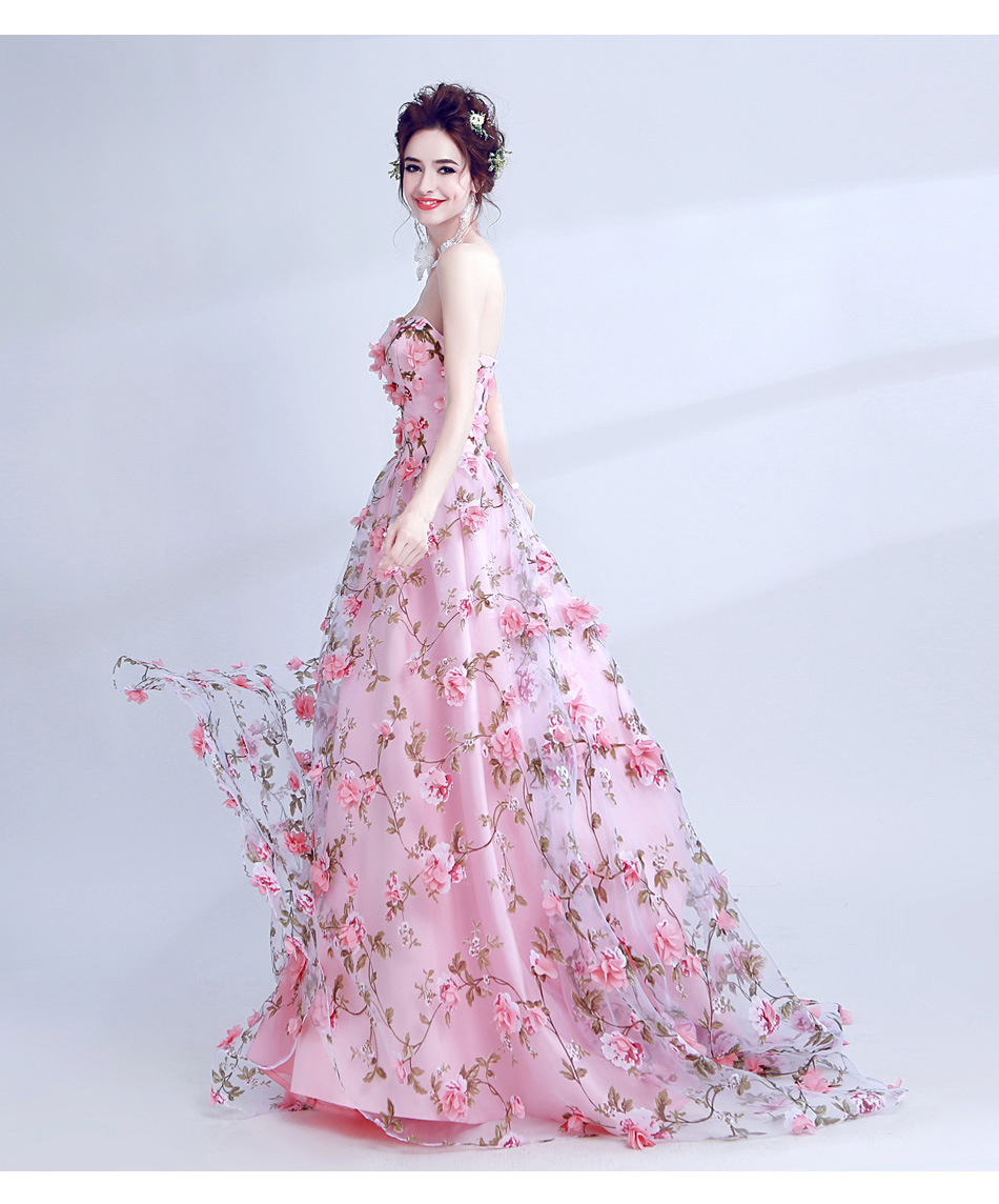 JaneVini Pink Floral Print Long Gowns for Women Wedding Party Dress 3D  Flowers Sisters Girls Formal a477ae9bb874